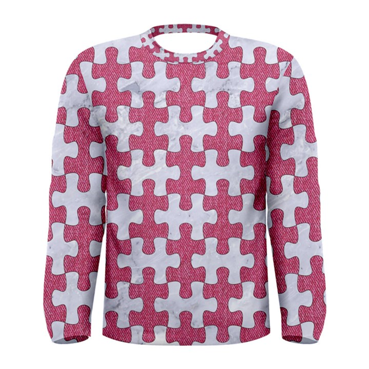 PUZZLE1 WHITE MARBLE & PINK DENIM Men s Long Sleeve Tee