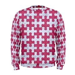 Puzzle1 White Marble & Pink Denim Men s Sweatshirt