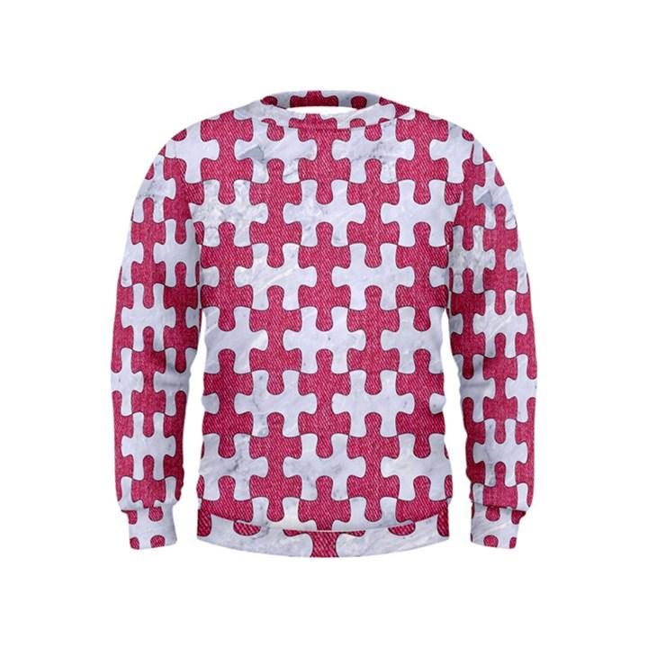 PUZZLE1 WHITE MARBLE & PINK DENIM Kids  Sweatshirt