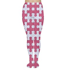 Puzzle1 White Marble & Pink Denim Women s Tights