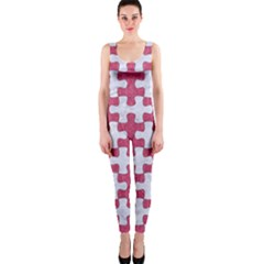 Puzzle1 White Marble & Pink Denim One Piece Catsuit