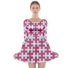 Puzzle1 White Marble & Pink Denim Long Sleeve Skater Dress