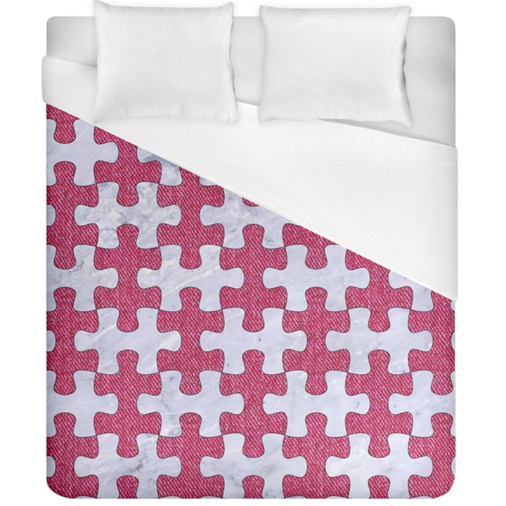 PUZZLE1 WHITE MARBLE & PINK DENIM Duvet Cover (California King Size)