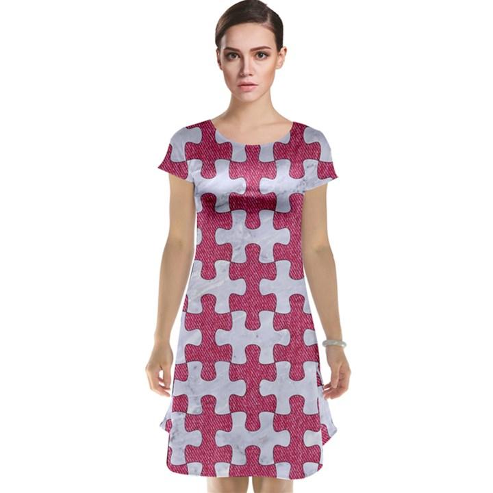 PUZZLE1 WHITE MARBLE & PINK DENIM Cap Sleeve Nightdress