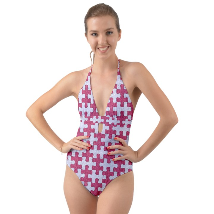PUZZLE1 WHITE MARBLE & PINK DENIM Halter Cut-Out One Piece Swimsuit