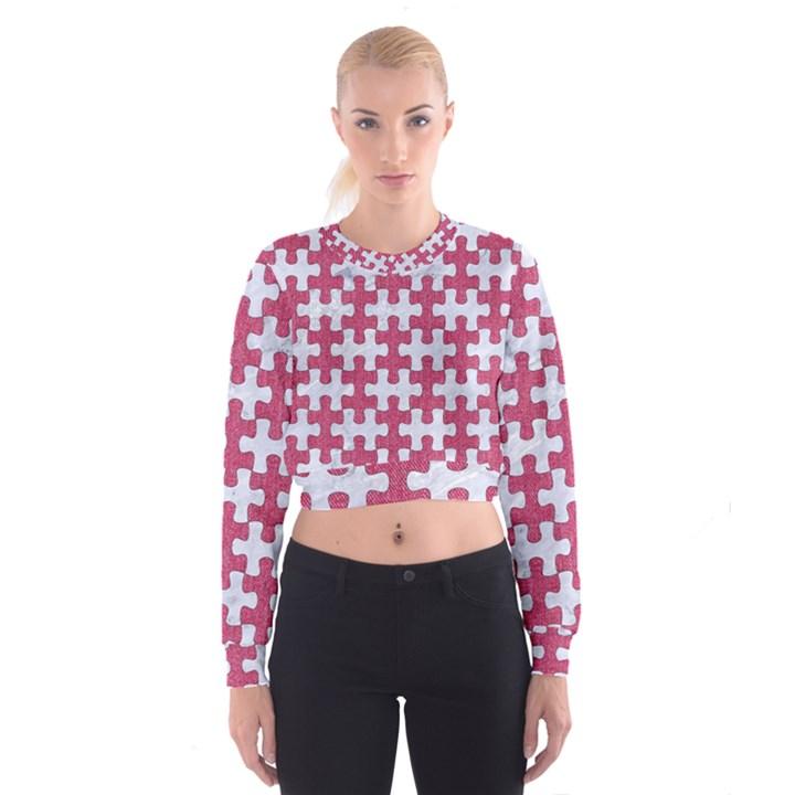 PUZZLE1 WHITE MARBLE & PINK DENIM Cropped Sweatshirt