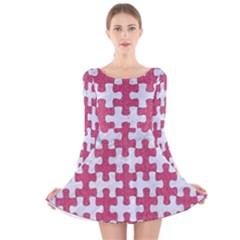 Puzzle1 White Marble & Pink Denim Long Sleeve Velvet Skater Dress