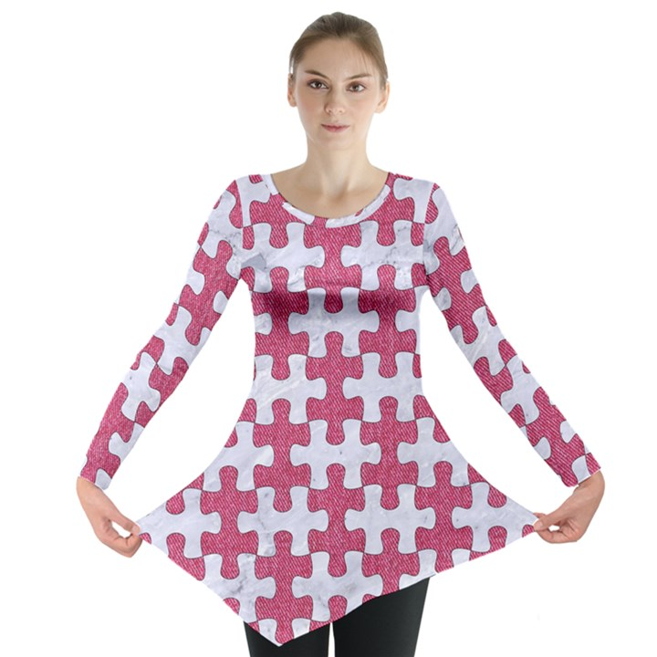 PUZZLE1 WHITE MARBLE & PINK DENIM Long Sleeve Tunic