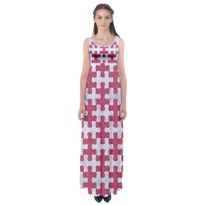 PUZZLE1 WHITE MARBLE & PINK DENIM Empire Waist Maxi Dress