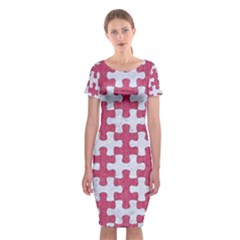 Puzzle1 White Marble & Pink Denim Classic Short Sleeve Midi Dress