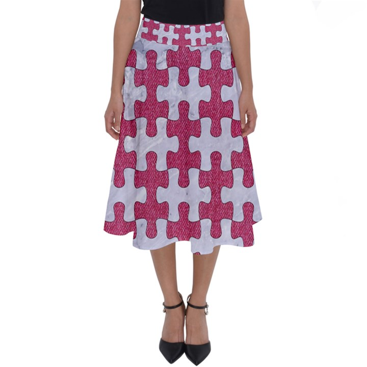 PUZZLE1 WHITE MARBLE & PINK DENIM Perfect Length Midi Skirt