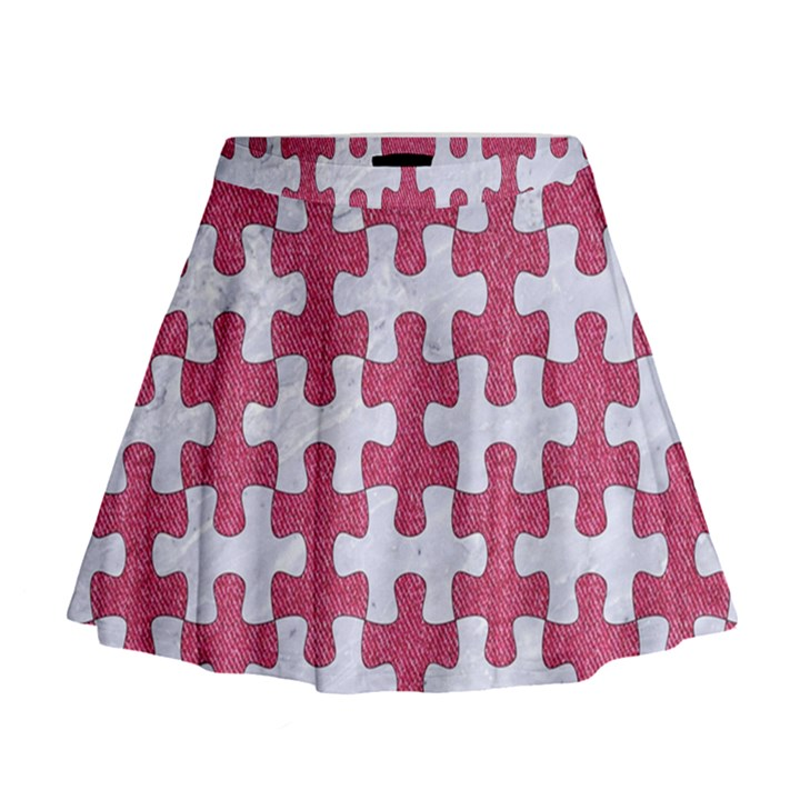 PUZZLE1 WHITE MARBLE & PINK DENIM Mini Flare Skirt