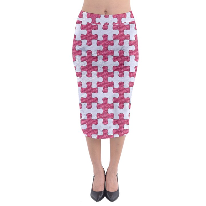 PUZZLE1 WHITE MARBLE & PINK DENIM Midi Pencil Skirt