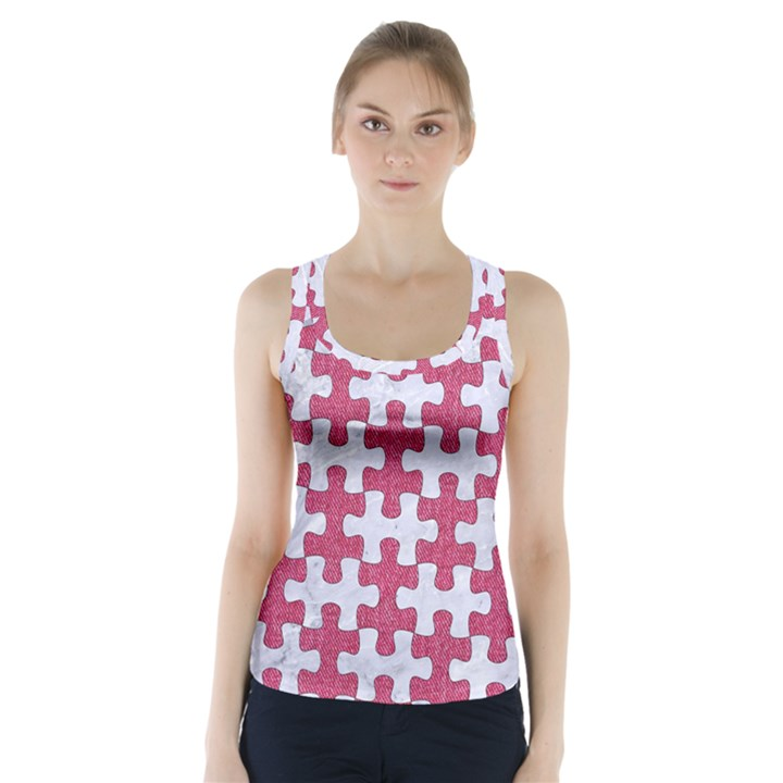 PUZZLE1 WHITE MARBLE & PINK DENIM Racer Back Sports Top
