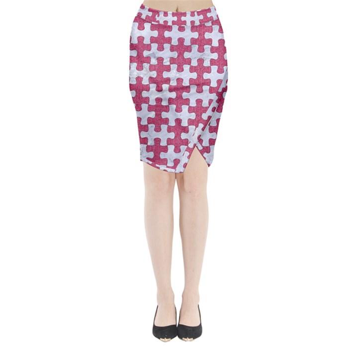PUZZLE1 WHITE MARBLE & PINK DENIM Midi Wrap Pencil Skirt