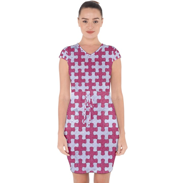 PUZZLE1 WHITE MARBLE & PINK DENIM Capsleeve Drawstring Dress