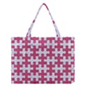 PUZZLE1 WHITE MARBLE & PINK DENIM Medium Tote Bag View1