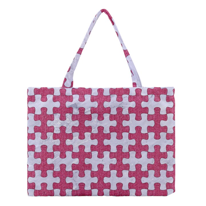 PUZZLE1 WHITE MARBLE & PINK DENIM Medium Tote Bag