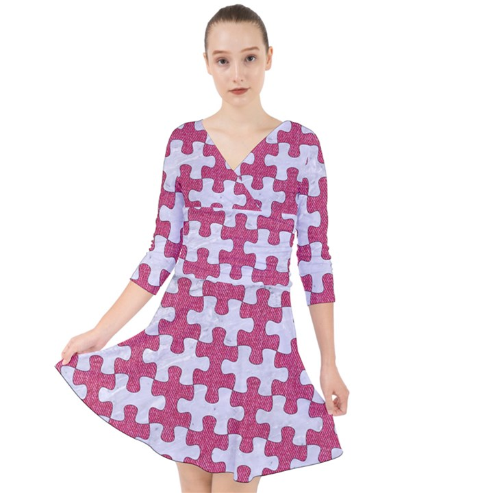 PUZZLE1 WHITE MARBLE & PINK DENIM Quarter Sleeve Front Wrap Dress
