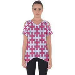 Puzzle1 White Marble & Pink Denim Cut Out Side Drop Tee
