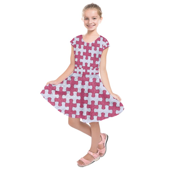 PUZZLE1 WHITE MARBLE & PINK DENIM Kids  Short Sleeve Dress