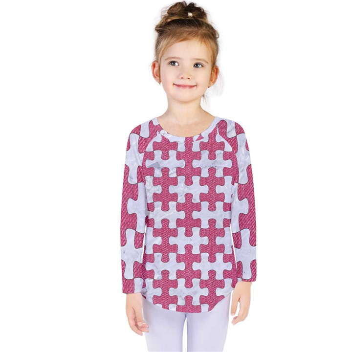 PUZZLE1 WHITE MARBLE & PINK DENIM Kids  Long Sleeve Tee