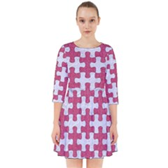 Puzzle1 White Marble & Pink Denim Smock Dress