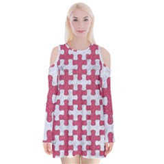Puzzle1 White Marble & Pink Denim Velvet Long Sleeve Shoulder Cutout Dress