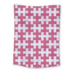 Puzzle1 White Marble & Pink Denim Medium Tapestry