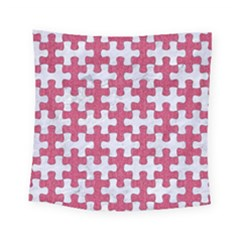 Puzzle1 White Marble & Pink Denim Square Tapestry (small)