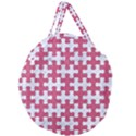 PUZZLE1 WHITE MARBLE & PINK DENIM Giant Round Zipper Tote View1