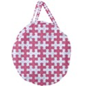 PUZZLE1 WHITE MARBLE & PINK DENIM Giant Round Zipper Tote View2