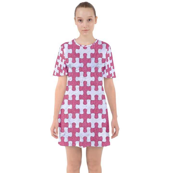 PUZZLE1 WHITE MARBLE & PINK DENIM Sixties Short Sleeve Mini Dress