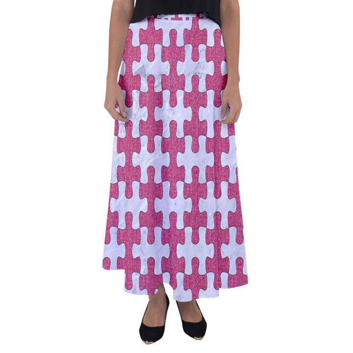 PUZZLE1 WHITE MARBLE & PINK DENIM Flared Maxi Skirt