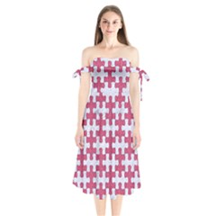 Puzzle1 White Marble & Pink Denim Shoulder Tie Bardot Midi Dress