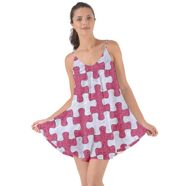 PUZZLE1 WHITE MARBLE & PINK DENIM Love the Sun Cover Up