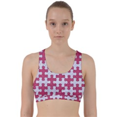 Puzzle1 White Marble & Pink Denim Back Weave Sports Bra