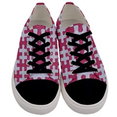 Puzzle1 White Marble & Pink Denim Men s Low Top Canvas Sneakers