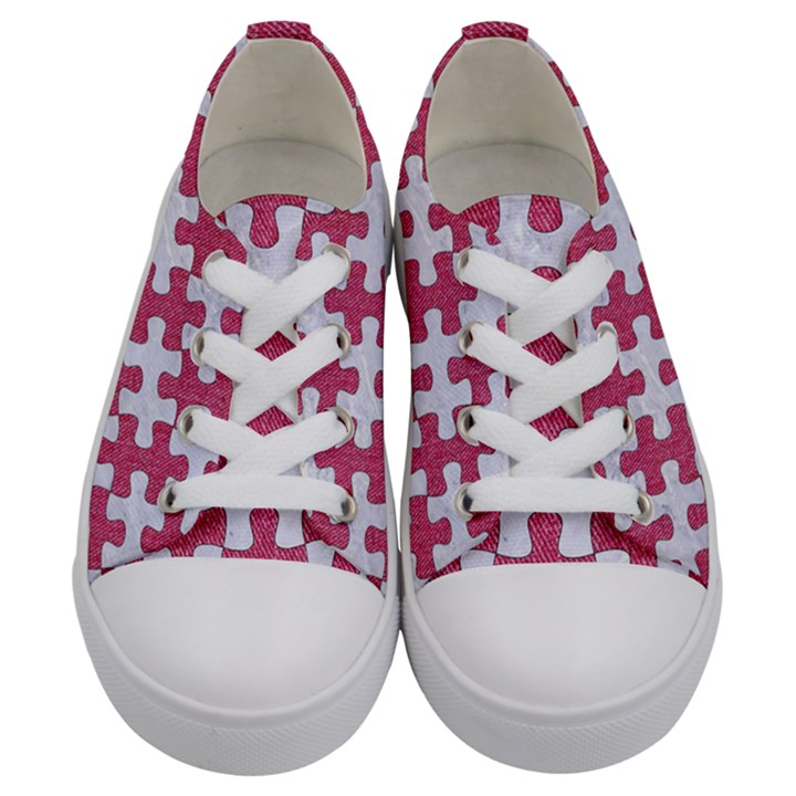 PUZZLE1 WHITE MARBLE & PINK DENIM Kids  Low Top Canvas Sneakers