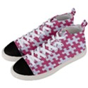 PUZZLE1 WHITE MARBLE & PINK DENIM Men s Mid-Top Canvas Sneakers View2