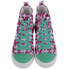 Puzzle1 White Marble & Pink Denim Women s Mid Top Canvas Sneakers