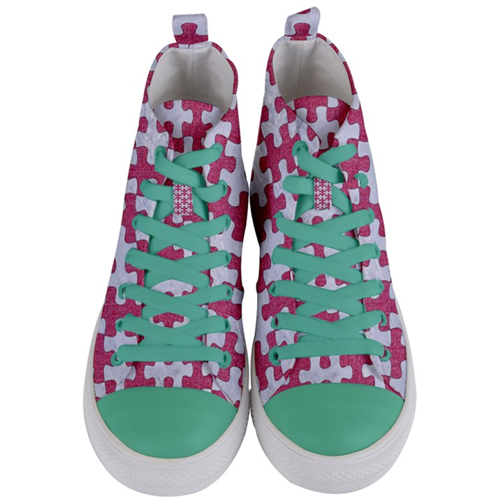 PUZZLE1 WHITE MARBLE & PINK DENIM Women s Mid-Top Canvas Sneakers