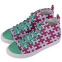 PUZZLE1 WHITE MARBLE & PINK DENIM Women s Mid-Top Canvas Sneakers View2