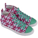 PUZZLE1 WHITE MARBLE & PINK DENIM Women s Mid-Top Canvas Sneakers View3