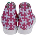 PUZZLE1 WHITE MARBLE & PINK DENIM Women s Mid-Top Canvas Sneakers View4