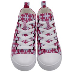 Puzzle1 White Marble & Pink Denim Kid s Mid Top Canvas Sneakers