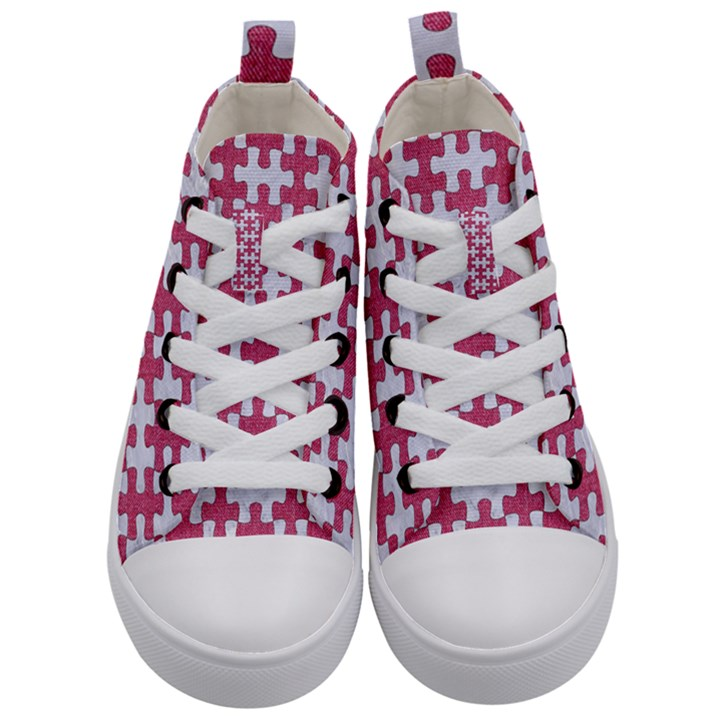 PUZZLE1 WHITE MARBLE & PINK DENIM Kid s Mid-Top Canvas Sneakers