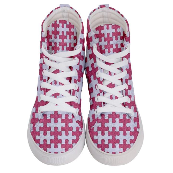 PUZZLE1 WHITE MARBLE & PINK DENIM Women s Hi-Top Skate Sneakers