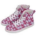 PUZZLE1 WHITE MARBLE & PINK DENIM Women s Hi-Top Skate Sneakers View2