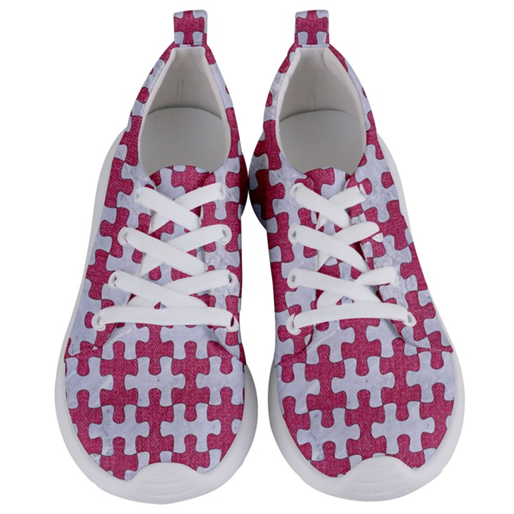 PUZZLE1 WHITE MARBLE & PINK DENIM Women s Lightweight Sports Shoes